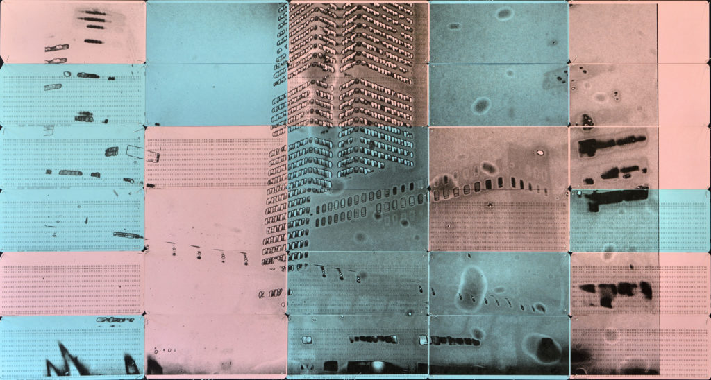 LPT01, 2020 Inkjet on 30 blue and pink computer punch cards Negative date 2012 49.8 x 93.5cm