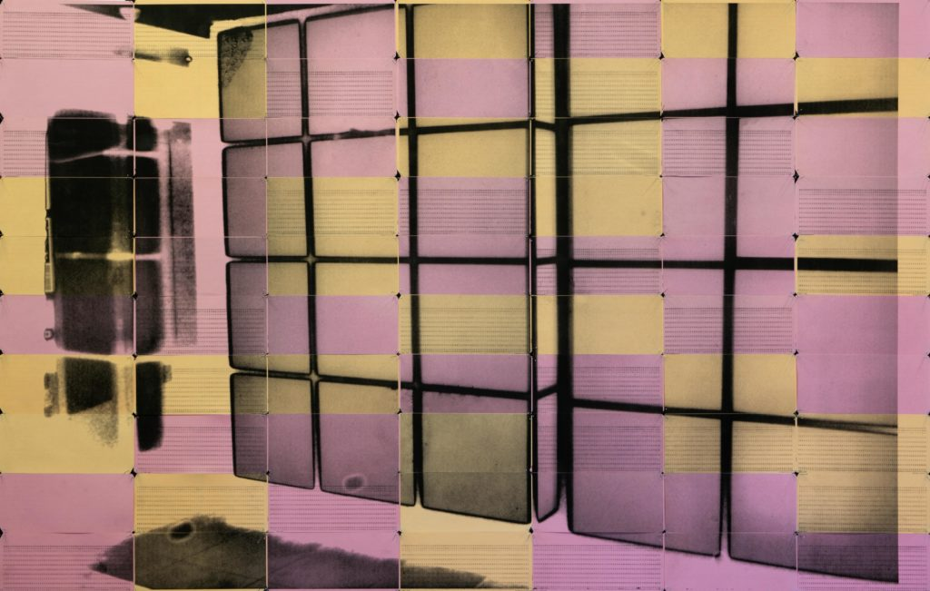 TYO3_072, 2019 Inkjet on 70 orange and pink computer punch cards negative date 2019 83 x 131cm